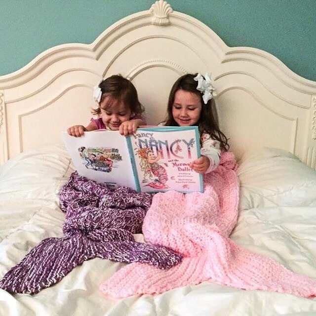 Knitting Pattern Mermaid Tail Blanket : Mermaid Tail Lapghan Blanket Knitting Pattern for Children