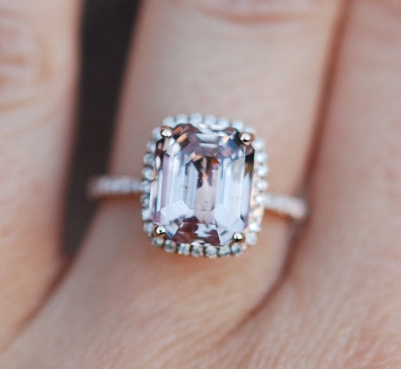 Peach Sapphire Ring Rose Gold Engagement Ring 5.86ct cushion 14k rose gold diamond ring.