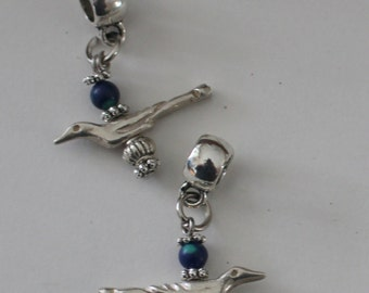 Sterling BIRD Bead Charm for all Name Brand Add a Bead Bracelets - 3D