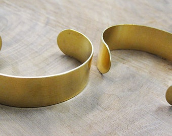Raw Brass Bangle Flat Cuff .75 inch for Riveting Bead Embroidery