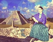 Frida Kahlo Print Instant Digital Download After Love Embrace of the Universe Chichen Itza Small t Poster Blue Mauve Purple Tan Black White