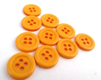 10 Yellow/Gold Vintage 4 Hole Buttons