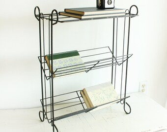 Vintage stand - telephone stand - magazine stand - magazine rack - end table - plant stand - metal - book rack
