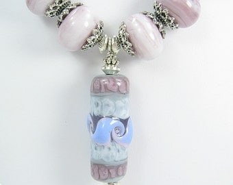 Handmade Glass Lampwork Necklace with Earrings - Purple and Pink