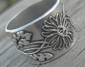 Wildflower Wide Sterling Silver Band MADE TO ORDER