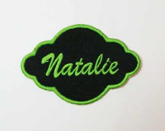 Fancy Frame Name Patch Embroidered Applique-100364