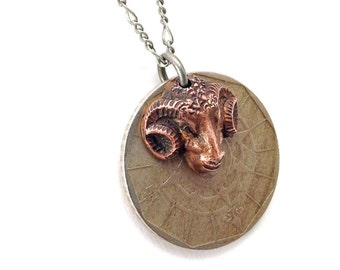 Portuguese 20 escudo coin necklace with ram charm, aries
