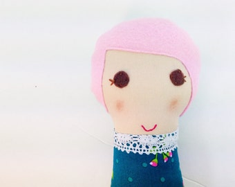 Ready to ship- Stuffed Mini Dollie, Small Fabric Doll, Cloth Stuffed Doll, Pink Haired Girl, Tiny Soft Doll