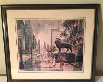 Chicago Art - Vintage print Yaworski Art Institute Michigan Avenue