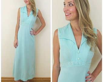 70s Sea Foam Green Empire Waist Maxi Dress with Matching Cardigan, Size Small