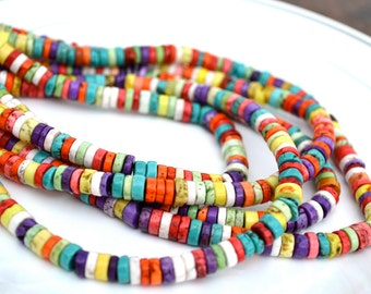 Colorful Heishi Magnesite Beads  Full 15 inch strand