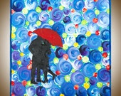 "Acrylic Modern Abstract Romantic love couple painting wall hangings wall decor abstract oil impasto home decor ""The Red Umbrella"""