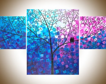 """Abstract birds art blue pink painting acrylic painting wall art wall decor gift for couple canvas art """"Wishing Tree"""" by qiqigallery"""