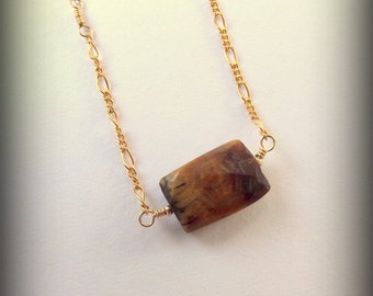 Faceted Tigers Eye Gold Necklace // Strength Necklace // Gold Chain // Stone Magic