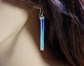 Sterling silver and vitreous enamel dangle earrings, royal blue, turquoise