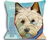 Cairn No. 1 - dog art pillow 18x18 custom option add your dog's name, ursula dodge, dog home decor, from original oil painting