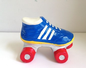 vintage kids bank ceramic roller skate