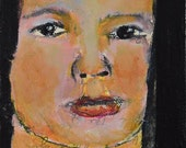 Acrylic Miniature Portrait Painting. Woman Canvas Art. Mixed Media Collage Art. Home Wall Decor