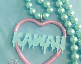 Kawaii Melty Text Pastel Blue And Pink Heart Necklace