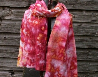 Cotton Gauze Scarf Pink Red Coral 36x72 - GaRG1 Rose Garden Ice Dyed Summer Scarf