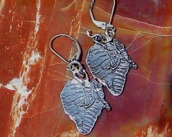 Dragonfly/Leaf Handcrafted Artisan Sterling Silver Earrings