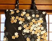 Japanese Cherry Blossom Tote Bag - Tumbling Golden Cherry Blossoms on Black TIGHT 'N' TIDY Tote, Reusable Folding Shopping Bag, Market Bag