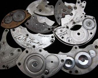 Destash Steampunk Watch Clock Parts Movements Plates Art Grab Bag RD 11