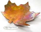 Maple Leaf Antiqued Copper Small Dish Rustic Decorative Plate
