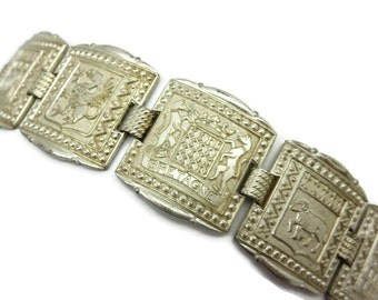 French Souvenir Bracelet - Bretagne, Brittany, Silver Tone, Costume Jewelry
