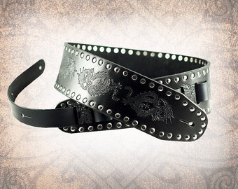 Leather Guitar Strap - The Dragon