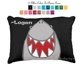 Shark pillow toss pillow beach theme ocean fish surf sharks beach decor kids toddler boys girls choose your color
