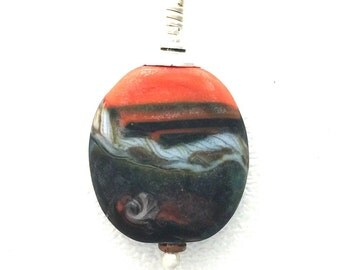 Orange Abstract Matte Lamp Work Glass Pendant by Kate Drew-Wilkinson