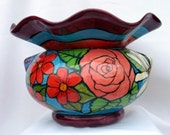 ON HOLD for CHERYL Picasso Face Impressionistic Flowers Ceramic African Violet Planter 2 Piece Self Watering on Etsy