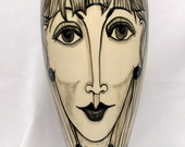 Grecian Style Ceramic Vase Unique Hand painted Black & White Stylish Ladies Portraits on Etsy