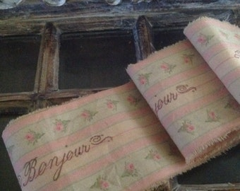 2015 SUMMER  FRENCH COLLECTION - Distressed Pink Rose Ticking Trim - French Script Bonjour - Hand Stamped Ribbon
