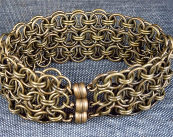 Antique Brass Triple Helm Weave Chainmaille Bracelet