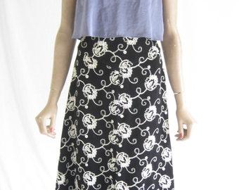 Vintage 70's Black Velvet Embroidered Boho Maxi Skirt