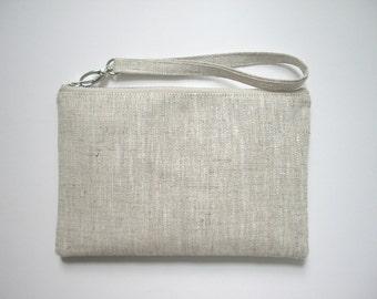 Wristlet, Simple Clutch Bag, Vegan Clutch, Linen Clutch, Neutral, Natural Linen Bag, for Women, Simple Purse, Handbag, Vegan