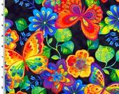 Butterfly Multi Rainbow Garden Kona Bay Fabric 1 yard