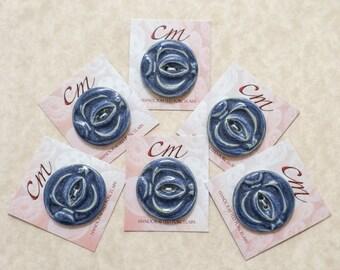 Periwinkle Blue Glazed Porcelain Button