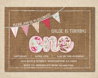 Shabby Chic First Birthday Invitations - Floral Roses Pink Teal - Burlap and Lace