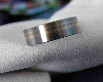 Titanium Ring Wedding Band Rose Gold Inlay Stripes Unique Look