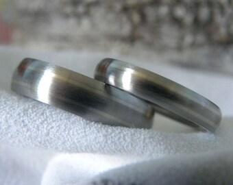 Titanium Ring SET, White Gold Pinstripe Inlays, Wedding Bands