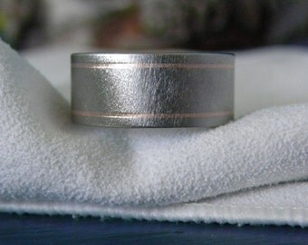 Titanium Ring with Two Narrow Pinstriped Rose Gold Inlays, Frosted