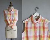 vintage Diane Von Furstenberg peach - yellow checkered plaid sleeveless top / m - l