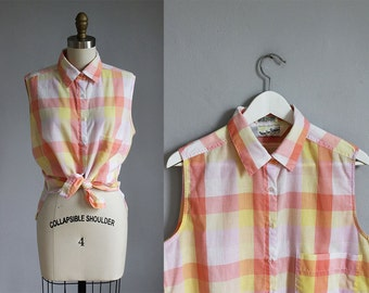 vintage Diane Von Furstenberg peach - yellow checkered plaid sleeveless top / m - l
