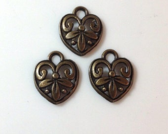 10 Scroll Flower Filigree Heart Charms Antique Bronze - BC5#GL*