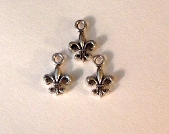 10 Fleur de Lis Charms 2 sided Antique Silver Tone - SC150#GL