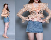 Vintage 70s Peach Sheer Floral Crop Top // DITSY HIPPIE FESTIVAL Cropped Ruffle Blouse - Size Small