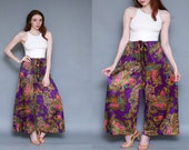 Vintage 1970's Purple Wide Leg Paisley Palazzo Pants // DEADSTOCK Hippie Psychedelic Pants - S M L